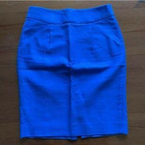 J. CREW The Pencil Skirt Blue Preppy dress Size 00